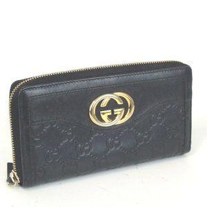 Auth Gucci Guccissima Gg Zipper Wallet #3255G10